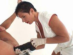Nurse stretches and milks a man