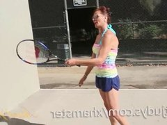 Mimi Gets Herself Off After Tennis Training