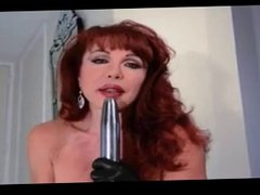 Hot Redhead Cougar Diddles in Leather
