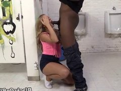 Stupid white girl fucked by blacks in male toilet