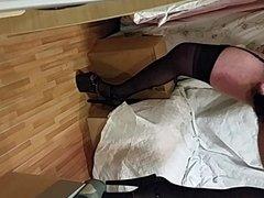 crossdresser in lingerie cumming
