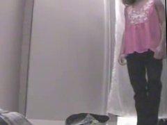 Hot blonde voyeur in dressing room