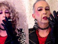 Smoking Sissy And Tranny Bimbo