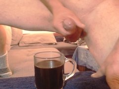 Shoot a big load in a glass Coffee - Cum