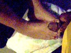 In between her toes