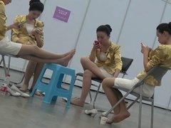 Candid Asian Hostess Nylon Feet