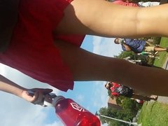 Working Hard To Get Red Dress Babe Upskirted