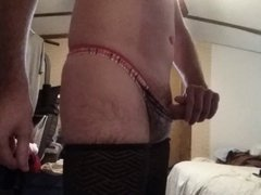Crossdresser in thong and stockings