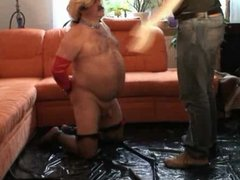 Chubby daddy humiliated and slapped