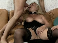 Chubby and pierced german mature 3some