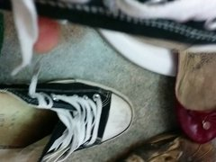 cumming in converse sneakers