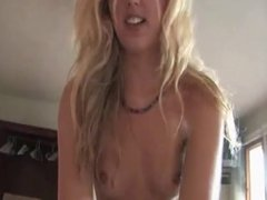 Hot blonde playing with dick