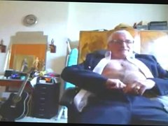 Suited Grandpa Cum On His Pants