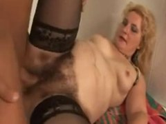 Drity hairy granny playing with young boy in bathroom