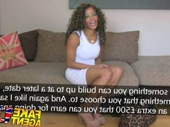 FakeAgentUK Fake interview sees sexy ebony chick get cum