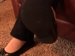 Caroline black flats stocking fondling PREVIEW