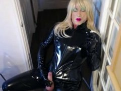 Candi cumming over her pvc catsuit