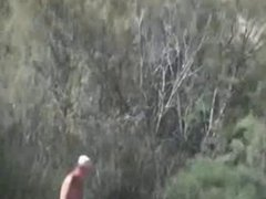 Pervert granny masturbates in front of stranger at beach