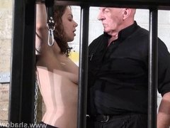 Whipped tits and rigid spanking of enslaved Beauvoir in bond