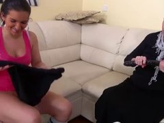 OldNanny Mature and teen masturbate with dildo