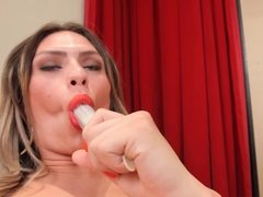 Katrina Rouge penetrates her tight transsexual asshole