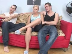 Hot Blond Teen - Bareback DP MMF Threesome CIM Facials