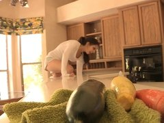 Petite Brunette Hottie - Anal Vegetable Photoshoot