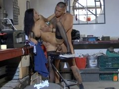 Candy Alexa With Black Stockings Fucks In The Workshop