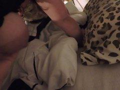 Wife masturbating wearing her anal jewel