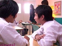 Petite Japanese schoolgirl pov wanks and sucks a cock
