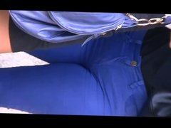 Talkative white girl in blue jeans - soft