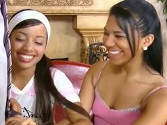 Two sexy latinas teen share a white cock