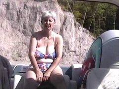 Hairy British Mature  Masturbation in the boat