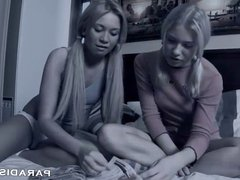 PARADISE FILMS Two Natural Teen blondes fucked in a threeway