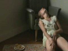 Girl masturbates to orgasm twice