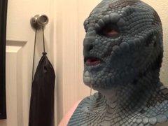 latex lizard mask sucking dildo