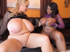 2 Busty BBWS Lick Each Others Fat Pussies