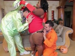Black BBW's Halloween Interracial Double Team