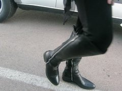 modeling and wearing my double sipper Pliner Boots