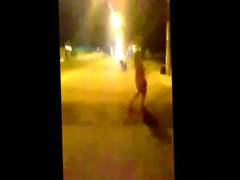 Girl showing tits and pussy in public street