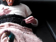 E-stim and ginger figging dressed in angora and mohair