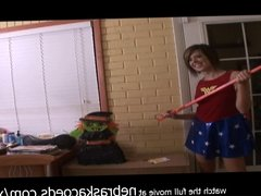 beating her pussy with rubber cock and also beating a pinata