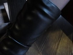 Black stockings with red tops upskirt in restoraunt