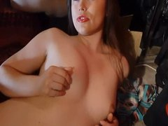 Sweet babe stroking my cock