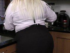 Blonde secretary in stockings