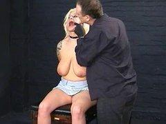 Humiliated blonde slaveslut Cherrys nosehooked tit tortures