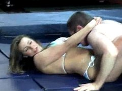 Mixed wrestling - belly smothering and scissoring