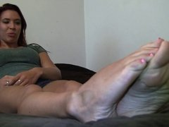 Teen girl shows her sexy 9.5 size soles