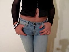 Sissy cums on her jeans