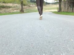 Walking with Aldo high heel shoes in slow motion!